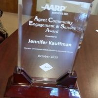 AARP Agent Community Engagement & Service Award (ACES) - Jennifer Kauffman, 2013