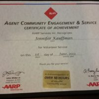 AARP ACES recognition for volunteerism - Jennifer Kauffman, 2010, 2011, 2012